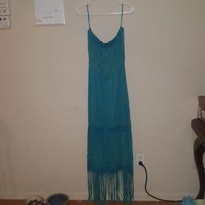 Turquoise Fringe Dress